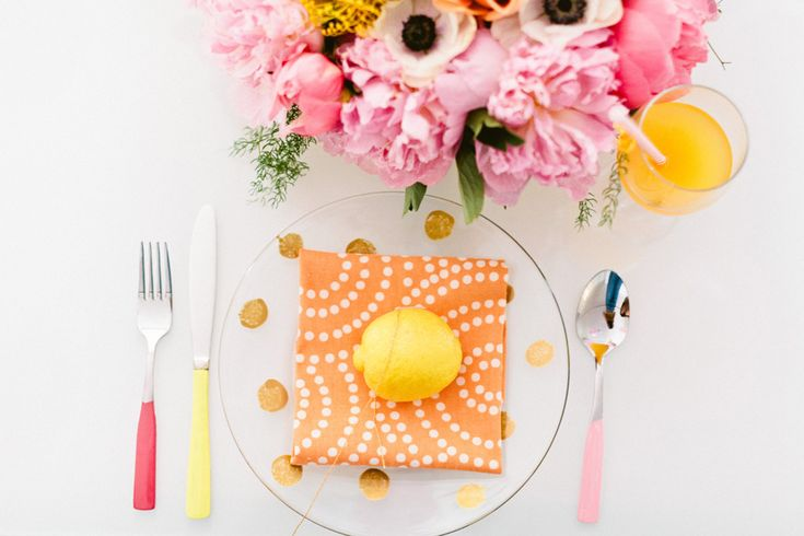 #place-settings, #polka-dots, #gold, #orange, #napkins, #peony, #pattern, #diy, #anemone, #cutlery, #luncheon, #flatware, #pink, #bright-colors, #yellow, #hot-pink  Photography: Erin McGinn Photography - erinmcginn.com Design, Styling