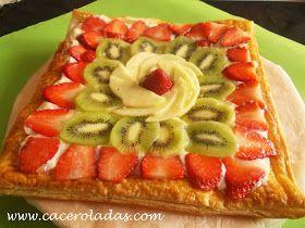 Hoy vamos a preparar una riquísima y fresca tarta de hojaldre con frutas naturales.