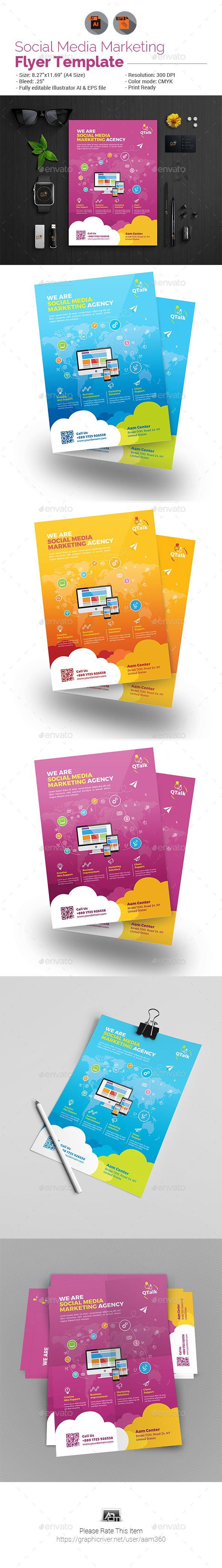 Social Media Marketing Flyer — Vector EPS #network #service • Available here → https://graphicriver.net/item/social-media-marketing-flyer/19569250?ref=pxcr