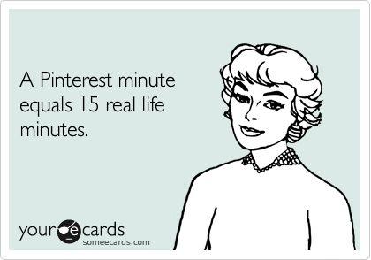 A Pinterest minute equals 15 real life minutes.