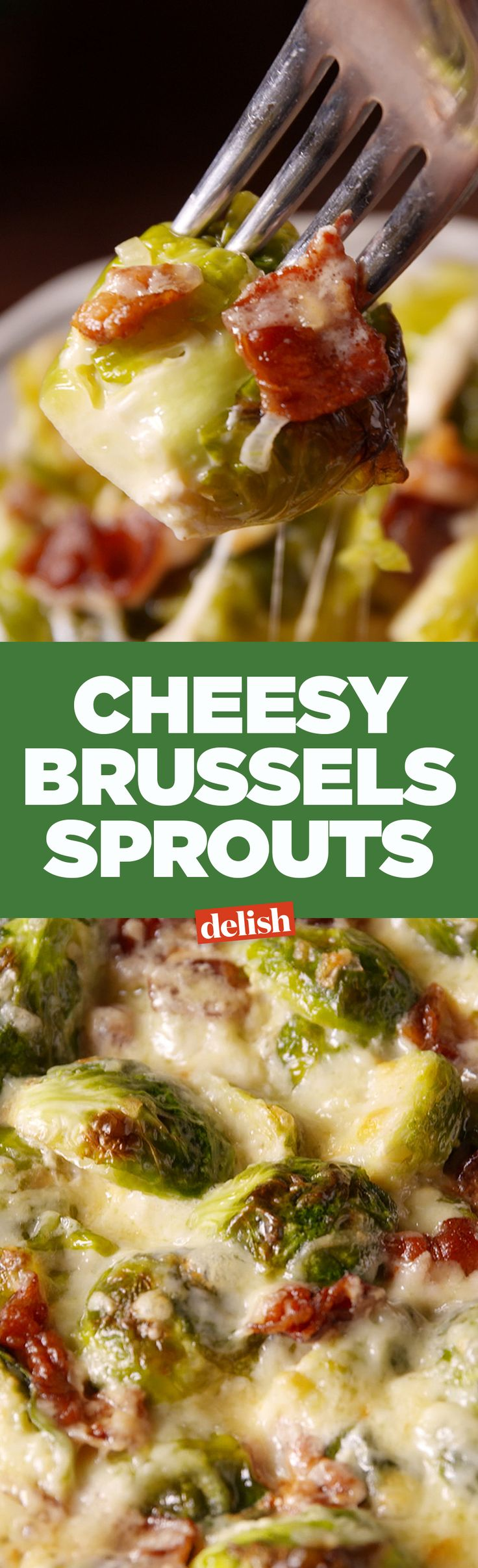 Cheesy brussels sprouts are the best brussels side for Thanksgiving. Get the recipe on Delish.com.