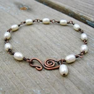 Etsy Transaction - Freshwater Pearls and Antiqued Copper wire wrapped bracelet by Jersica