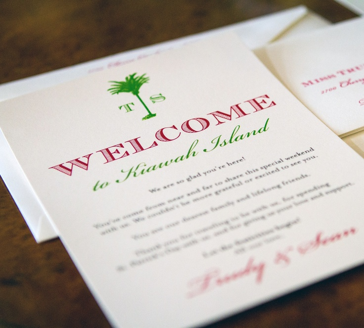 preppy st.patty's day pink & green wedding welcome note with custom logo monogram