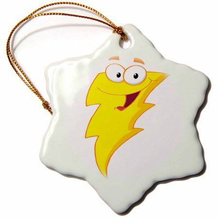 3dRose Silly Cute Cartoon Lightning Bolt Character, Snowflake Ornament, Porcelain, 3-inch