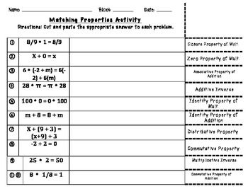 Printables Properties Of Numbers Worksheet properties of numbers worksheet imperialdesignstudio real matching activity 6th grade math