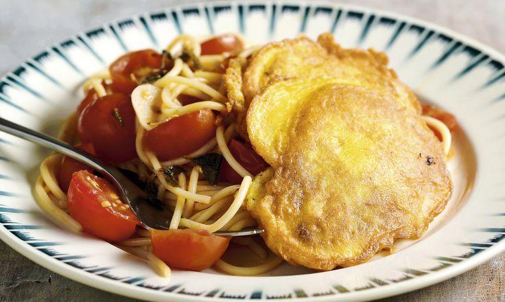 Piccata milanese (escalopes de veau) et spaghetti