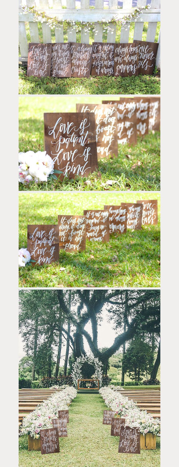 We've seen a lot of beautiful rustic wedding signs, but when we came across this photo of multiple signs all with parts of the 1 Corinthians 13 verses (which is very popular at weddings) lining the ceremony aisle, it stopped us in our tracks. Such a lovely idea created by Mulberry Market Design and the possibilites …