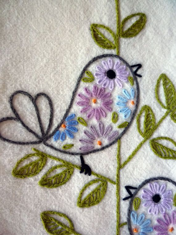 Retro Birds Hand-Embroidered by MelysHandEmbroidery on Etsy