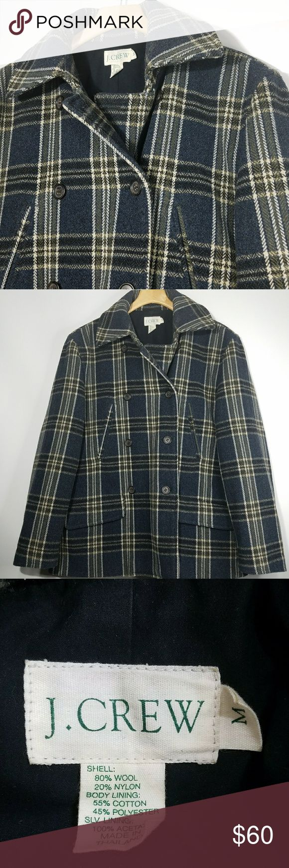 """J.Crew Peacoat M J.Crew Womens Peacoat M Navy Blue Beige Brown Plaid Wool Double Breasted Jacket  Excellent used condition!  Flat Lay Measurements Unstretched Underarm to underarm: 20"""" Length: 27  Comes from a smoke and pet free home! J. Crew Jackets & Coats"""