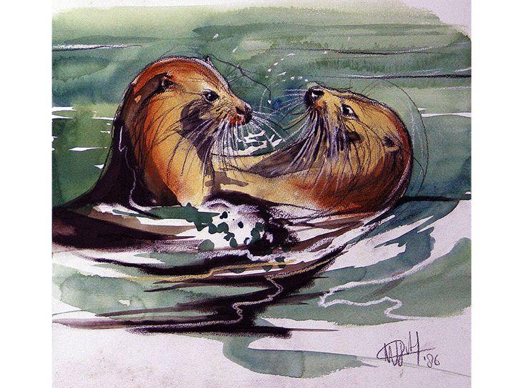 Walty Dudok van Heel - spelende otters - playing otters