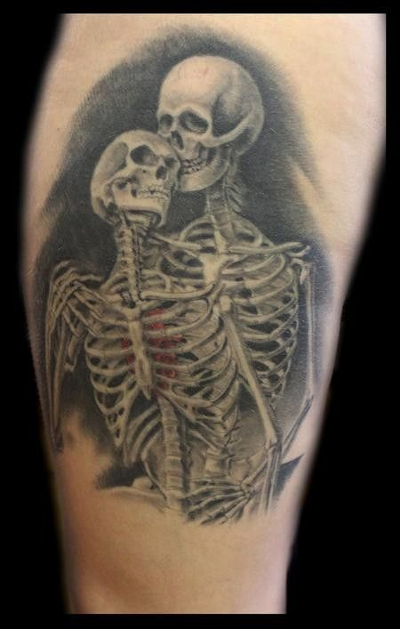 Couple Tattoo Fantastic natural looking half colored skeleton couple ...