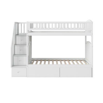Best Harriet Bee Staircase Twin Over Twin Bunk Bed With Drawers 640 x 480