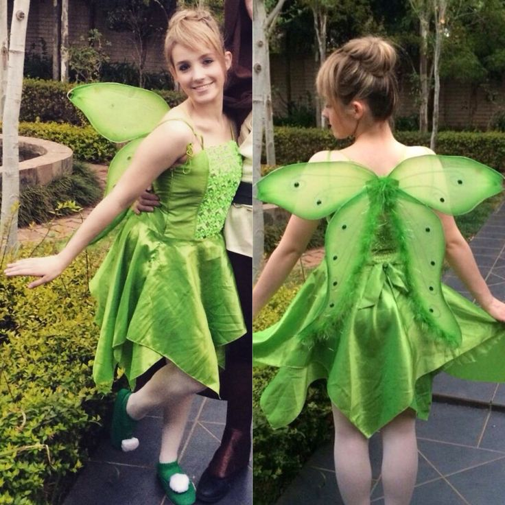 Tinkerbell costume diy fake bangs ballet stockings with for Tinkerbell fairy door