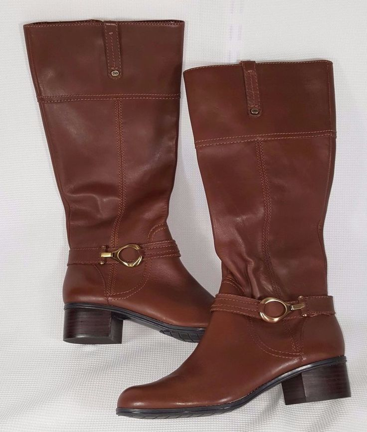 Womens Boots Bandolino Carlotta Brown Leather Knee High Tall Riding 9M brass  #Bandolino #RidingEquestrian