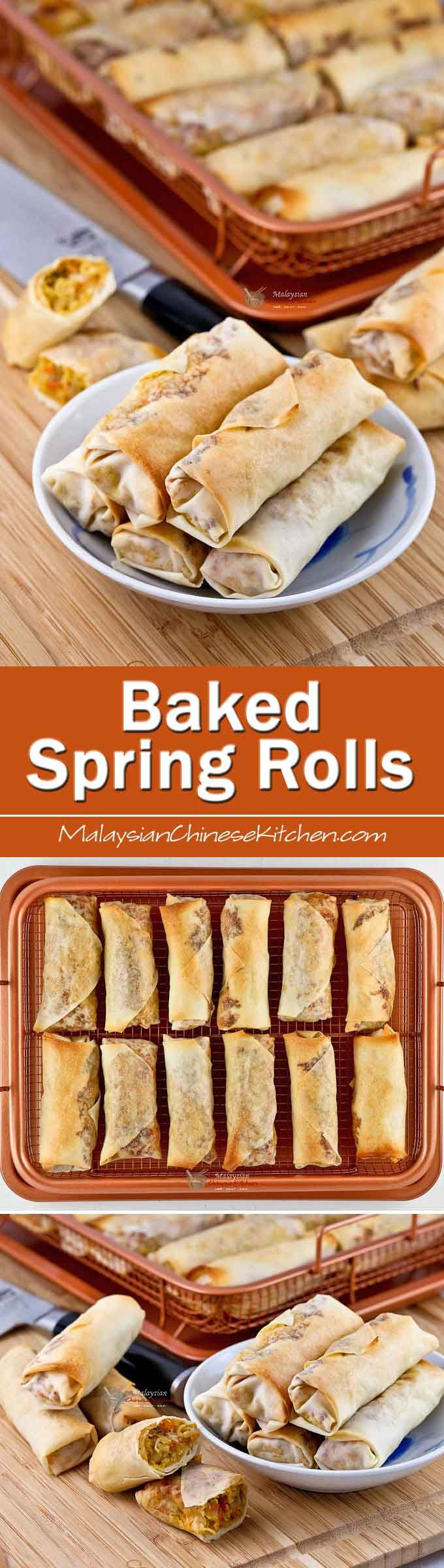 These Baked Spring Rolls filled with jicama, carrots, cabbage, and ground pork are just as delicious as their deep fried counterpart. They are crispy too!   MalaysianChineseKitchen.com