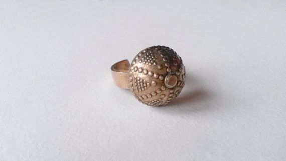 Kalevala Koru (FI), vintage bronze dome shaped 'Halikko' ring, 1980s. Its design was inspired by the 12th century findings on the Finnish east coast. This design is also known as 'Filigraani' which means filigree. #finland   finlandjewelry.com