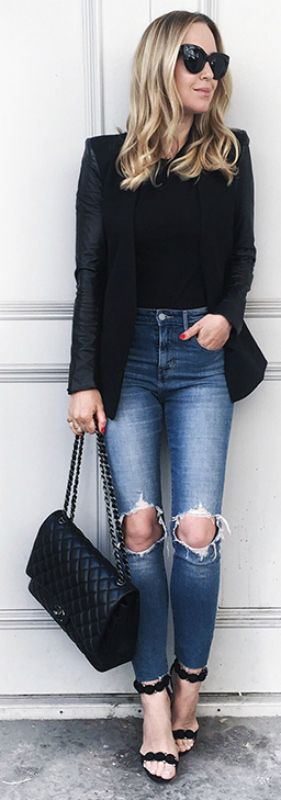 smart casual + blazer and jeans outfit + contrast + distressed denim + sleek black blazer + Helena Glazer   Blazer: Helmut Lang, Denim: Levis, Tee: Vince. Shoes: Alaia, Bag: Chanel Maxi.