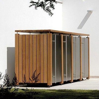 Mülltonnenbox aus Edelstahl und Holz