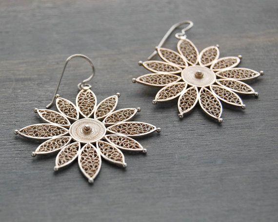 Vintage Silver Filigree Flower Dangle Earrings by MintAndMade, $68.00
