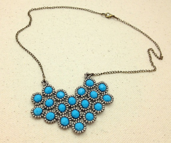 Turquoise Swarovski Crystal and Silver Heart by RestlessArtMpls, $50.00