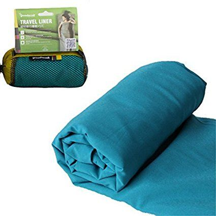Green hermit Lightweight Backpacking Compact Sleeping Bag Liner Sleep Sack - Camping Travel Outdoor Picnic (Tile Blue)