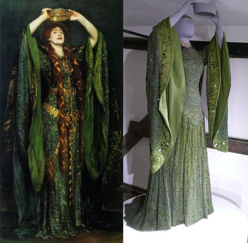 Amazing dress, Part One, crocheted, sewn, beaded, and more. Those sleeves are so great...