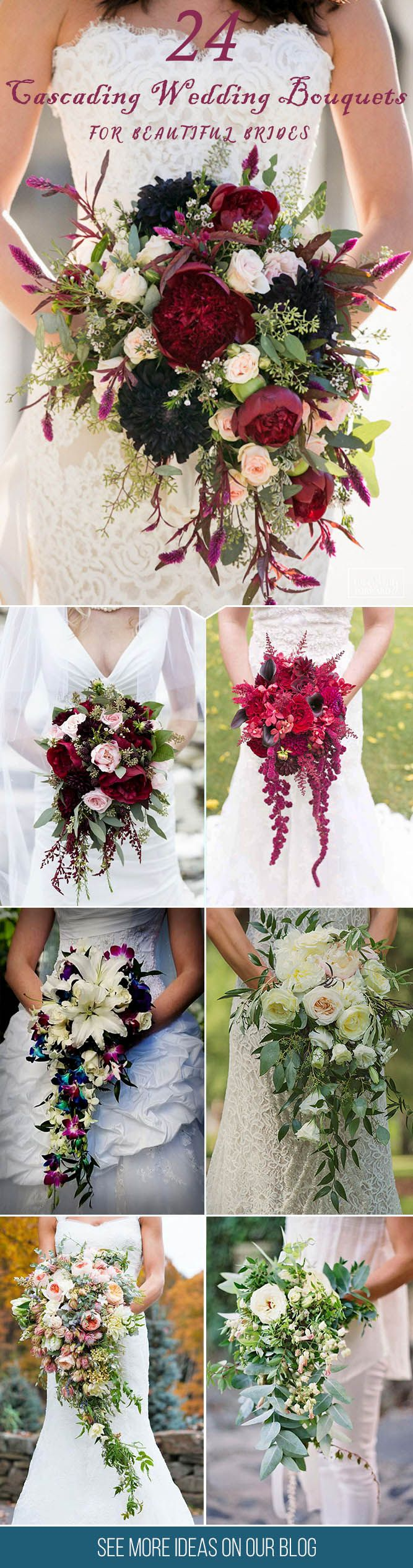 24 Gorgeous Cascading Wedding Bouquets ❤ Modern cascading (or pageant) bouquets are different from traditional round bouquets and look stunning with roses, orchids, peonies, lilies and dahlias. See more http://www.weddingforward.com/cascading-wedding-bouquets/ ‎#wedding #bouquets
