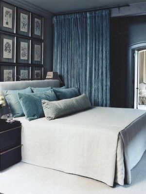 Restful blue and aqua velvets. McAlpine Booth & Ferrier Interiors