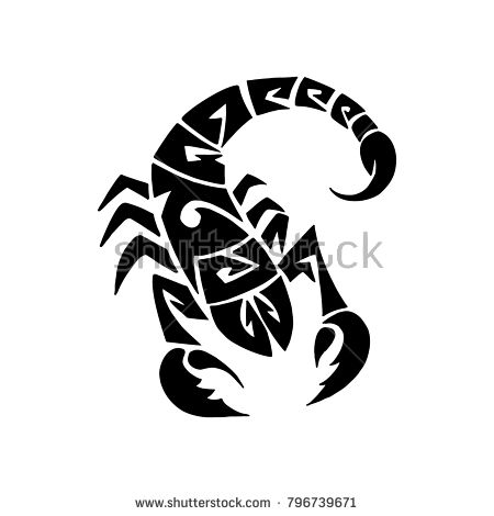 Stylized zodiac sign Scorpio in the style of the Maori tattoo. An illustration drawn in a vector.