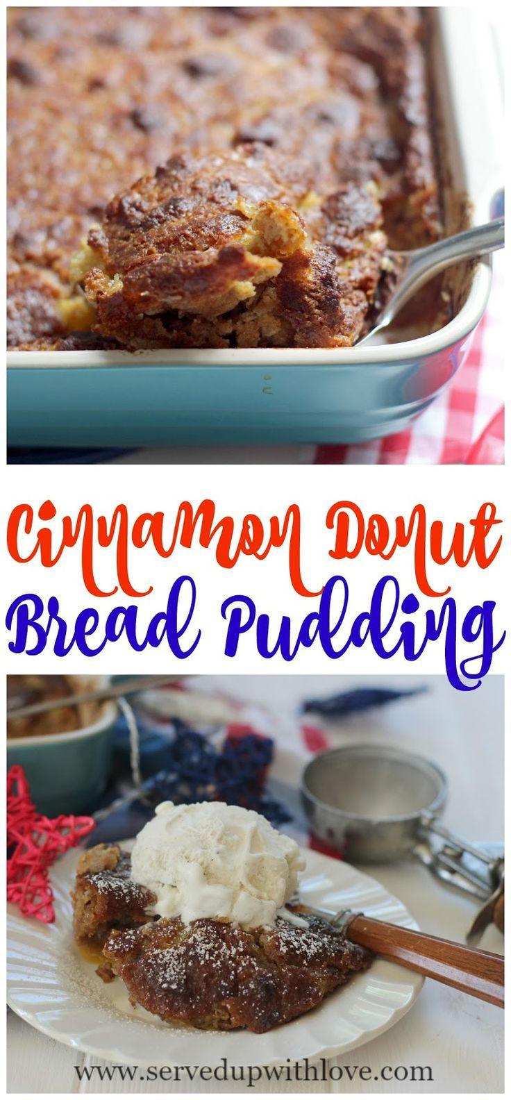 Cinnamon Donut Bread Pudding recipe from Served Up With Love using Farm Rich Bakery Cinnamon Donut Holes. @farmrichsnacks #FarmRich #ad www.servedupwithlove.com