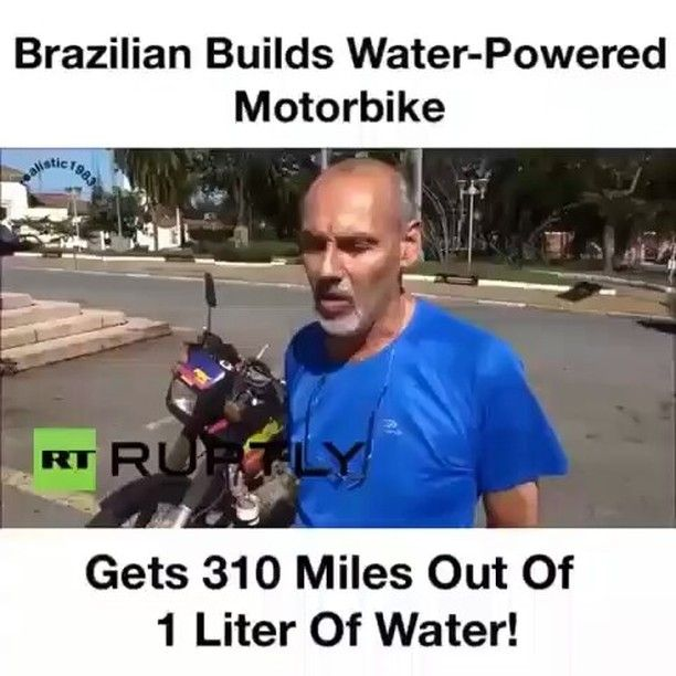 @Regrann from @chididdy26 -  @Regrann from @realistic1983 -  Part22 For decades there have been stories about vehicles that could run on water and now we can actually see one of these vehicles in action. The T Power H20 motorbike was developed in Sao Paulo Brazil by a man named Ricardo Azevedo. The motorcycle can travel up to 310 miles on just a liter of water and it does not require any specific type of water. Azevedo has even demonstrated how the motorcycle works using polluted water from…