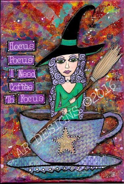 Witch Halloween Art Coffee Art Coffee Quotes Original