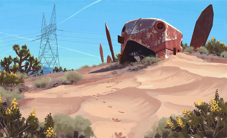 These beautiful paintings feel like 1980s sci-fi film concept art