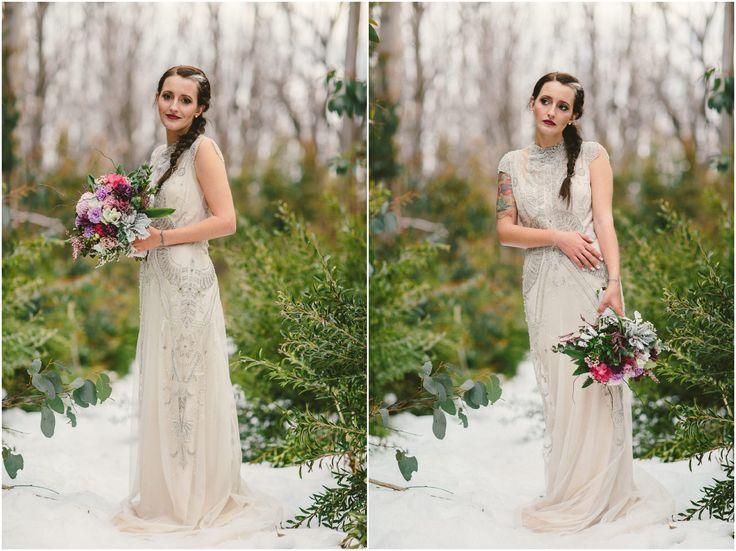 Snow bridal shoot | Gwendolynne gowns  © Hyggelig Photography