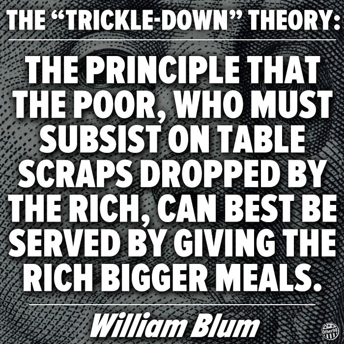 Trickle Down Economics The trickle down theory: the principle that the poor who…