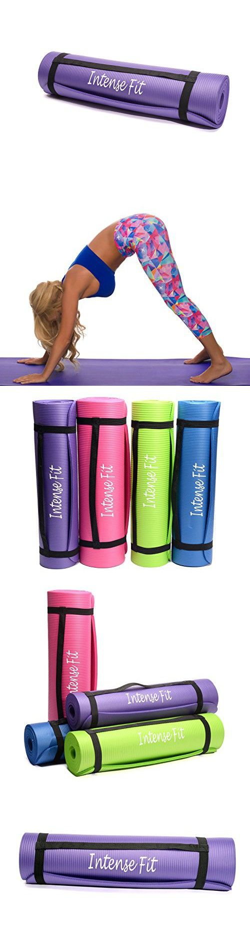 Intense Fit Multi-Purpose 3/8-Inch Thick 71-Inch Long 24-Inch Wide Anti-Tear Non-Slip NBR Comfort Foam Yoga Pilates Mat with Carrying Strap - 4 Colors (Purple)