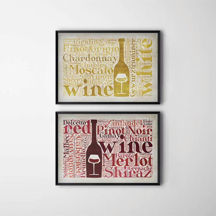 Kitchen wall decor words : Kitchen wine decor print set gift wino art