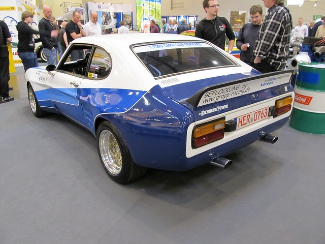 Ford Capri MKI RS2600 (cologne wide arch kit by the looks of it) Blue and White