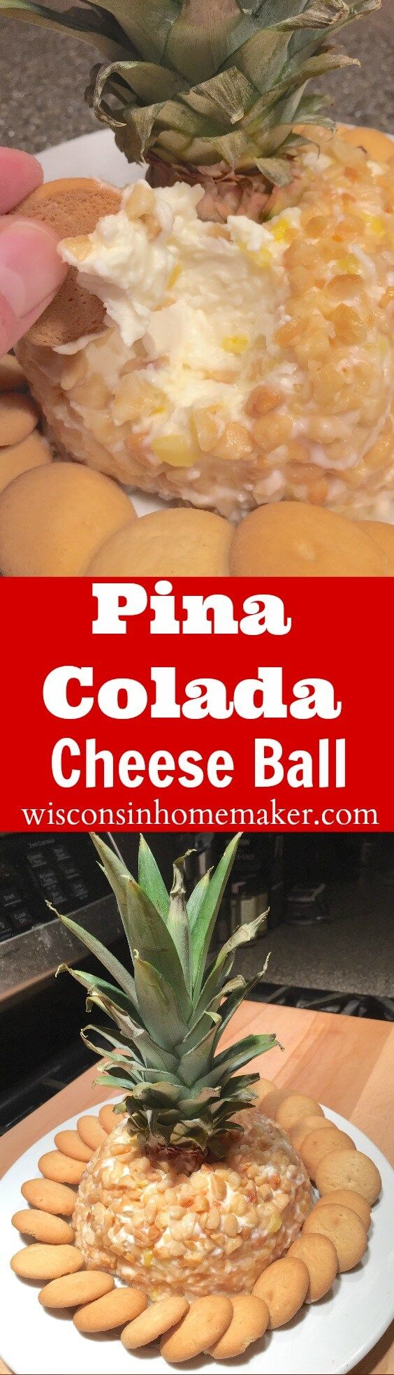 If you love the thought of tropical drinks especially, if they're poured into a pineapple, then you'll love this inspired recipe that recreates this experience in a party-favorite dessert: Pina Colada Cheese Ball. from WisconsinHomemaker.com