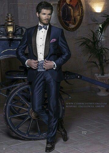 Italian blue tuxedo wedding suit in new performance fabric with black satin  shawl lapels, style 1112 Ottavio Nuccio Gala, 2015 Black Tie collection.