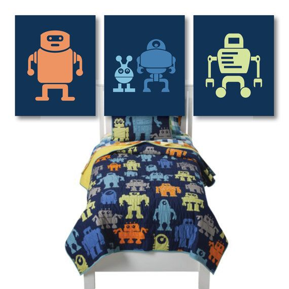 Boy Robot Nursery Art   Robot Bedroom Art   Boy Nursery Art   Boy Bedroom  Art   Orange Blue Green  You Pick The Size U0026 Colors