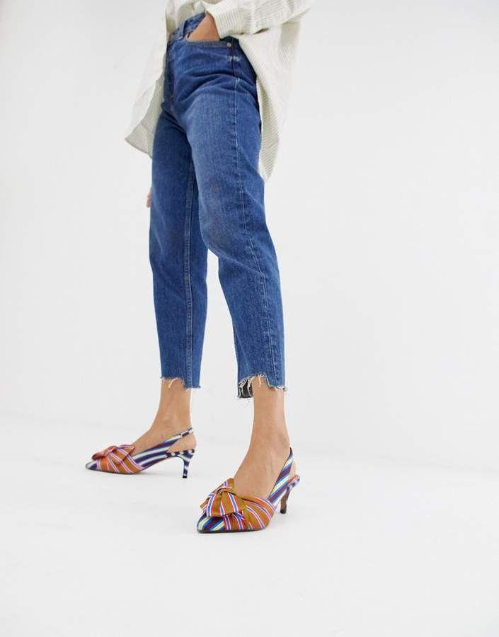 17ef78701a9  51.00 - ASOS DESIGN Screwball stripe mid  heels - Heels by ASOS DESIGN -  The