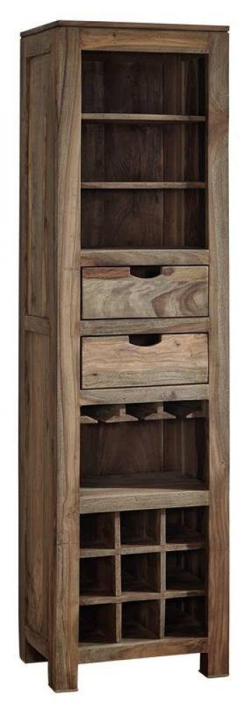 Palisander Holz massiv Weinregal Sheesham Möbel NATURE GREY #51