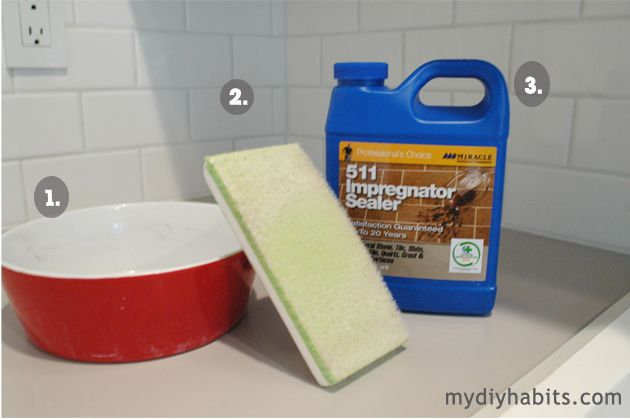 my{DIY}habits: sealing grout...  $33 for that sealer from home depot but she says it works the best..... need to give it a try!