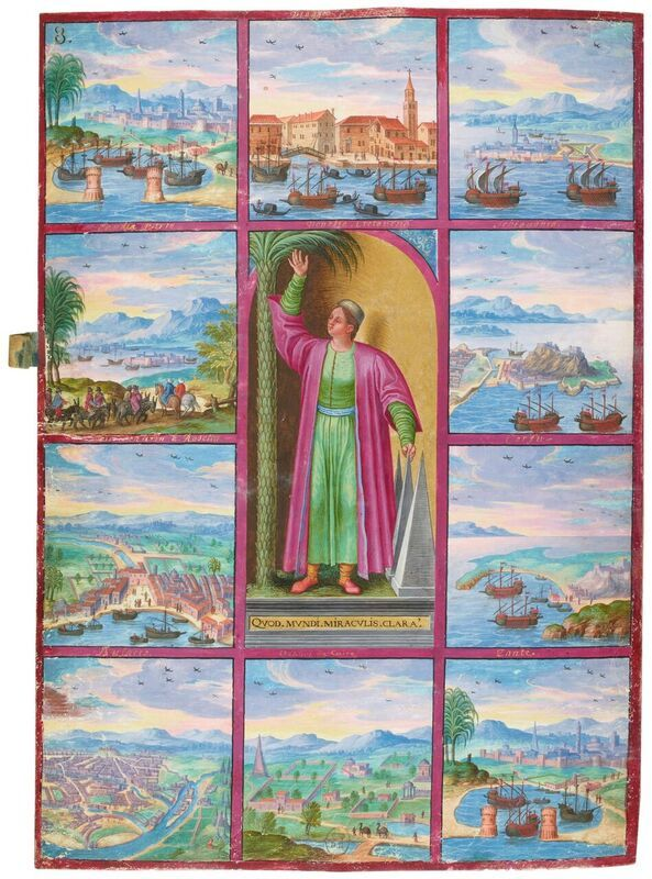Le voyage de Charles Magius. Magius' voyage to Egypt. Centrepiece: Personification of Egypt. Smaller paintings: 1) Magius' arrival at the port of Alexandria; 2) Magius at Alexandria and Rosetta, with a caravan of Turks and others; 3) City and port of Bulacco; 4) City of Cairo; 5) Environs of Cairo; 6) Magius' return to Alexandria; 7) View of the island of Zante (Zakynthos); 8) View of the island of Corfu; 9) City and fort of Schiavonia ... Miniature painting on vellum, 1578.