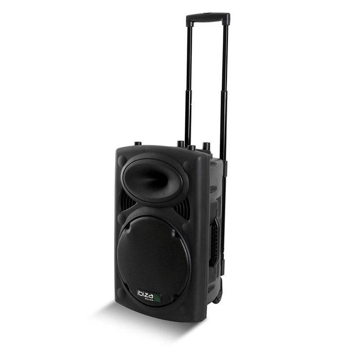 """IBIZA 12"""" 30cm portable PA system. Livré avec câblage et 1 micro VHF main 197,15MhZ ou 1 micro VHF serre-tête 199,6Mhz. Puissance RMS/max: 350/700W. Amplificateur puissance intégré: 100W max. Lecteur MP3, USB, SD et branchement ordinateur. Contrôles de graves et d'aigus. Contrôles de volume et d'écho du micro. Contrôle du volume musique. Location sono compacte portable autonome à Obermorschwihr (68420) - www.placedelaloc.com"""