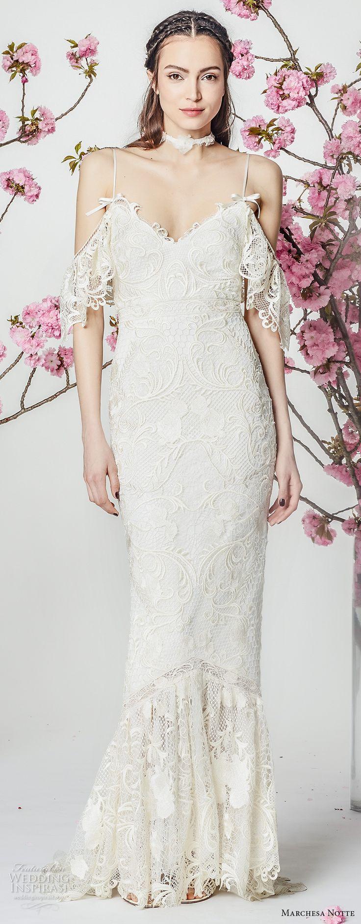marchesa notte spring 2018 bridal half cold shoulder sleeves spaghetti strap v neck full embellishment elegant romantic sheath wedding dress (03) mv