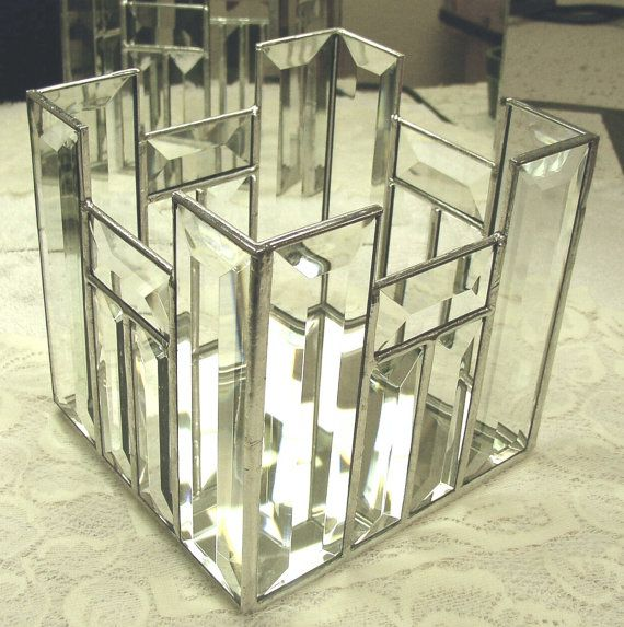 Stained Glass Candle Box Clear Bevels by DobbyStainedGlass