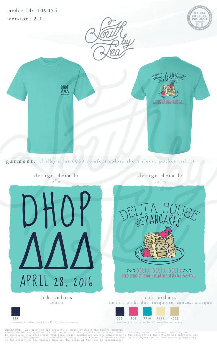 Delta House Pancakes | Tri Delta | Delta Delta Delta | Pancake Philanthropy T-Shirt | South by Sea | Greek Tee Shirts | Greek Tank Tops | Custom Apparel Design | Custom Greek Apparel | Sorority Tee Shirts | Sorority Tanks | Sorority Shirt Designs