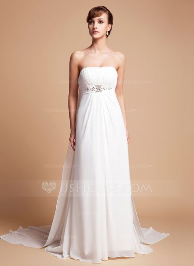 Wedding Dresses - $142.99 - Empire Strapless Watteau Train Chiffon Wedding Dress With Ruffle Beadwork (002000563) http://jjshouse.com/Empire-Strapless-Watteau-Train-Chiffon-Wedding-Dress-With-Ruffle-Beadwork-002000563-g563